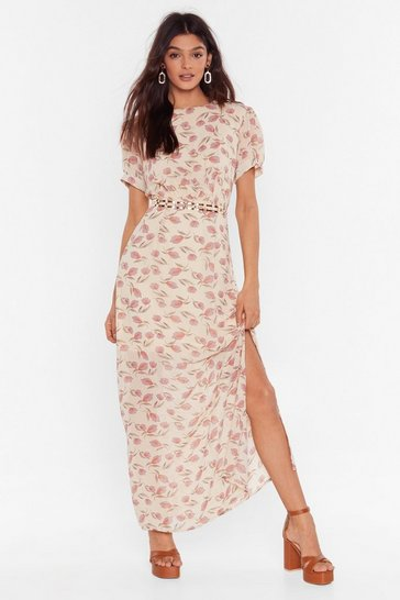Vintage Floral Puff Sleeve Midaxi Dress , Cream