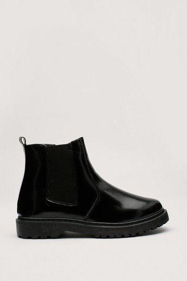 Black Faux Leather Chelsea Boots with Cleated Sole