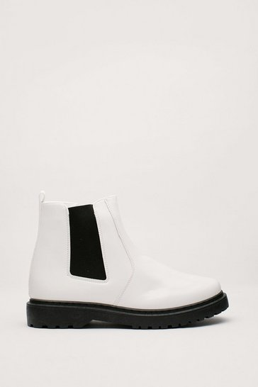 White Best Foot Forward Faux Leather Chelsea Boots