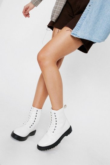 White Faux Leather Lace Up Biker Boots
