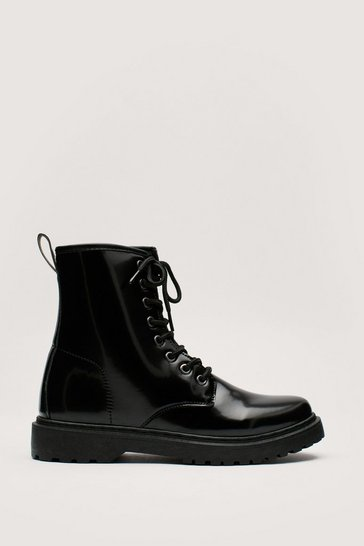 Black Lace the Music Faux Leather Biker Boots