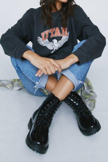 Black Lace the Music Faux Leather Biker Boots