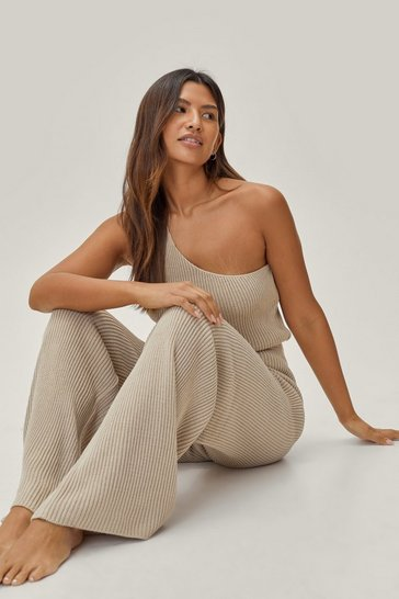 Oatmeal One By One Shoulder Knitted Lounge Set