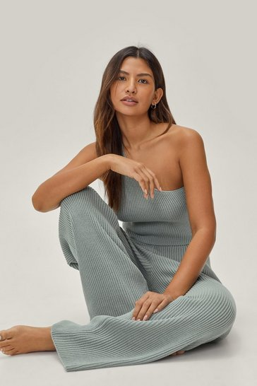 Sage Cropped One Shoulder Top Loungewear Set