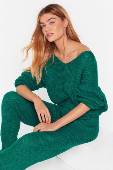 Emerald Sunday Mornings Knitted Jumper & Jogger Set