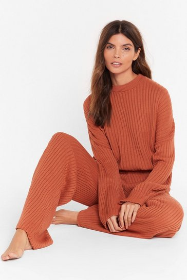 Cinnamon High-Waisted Sweater And Ribbed Pants Lounge Set