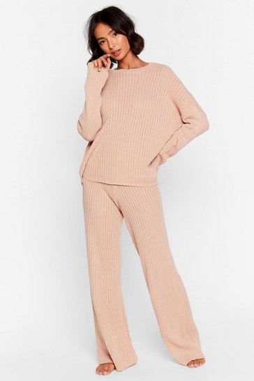 Nude High-Waisted Sweater And Ribbed Pants Lounge Set