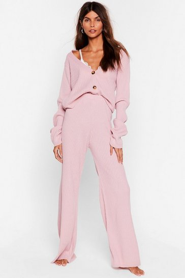 Mink In a Knit Second Cardigan and Wide-Leg Pants Set