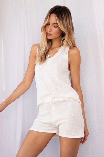 Oatmeal Knit V Neck Tank Top and Shorts Set