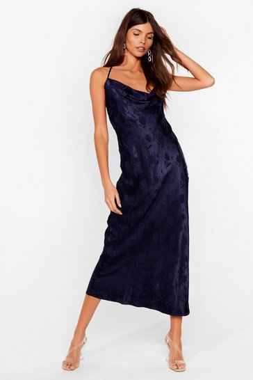 Navy Jacquard to Find Satin Midi Dress