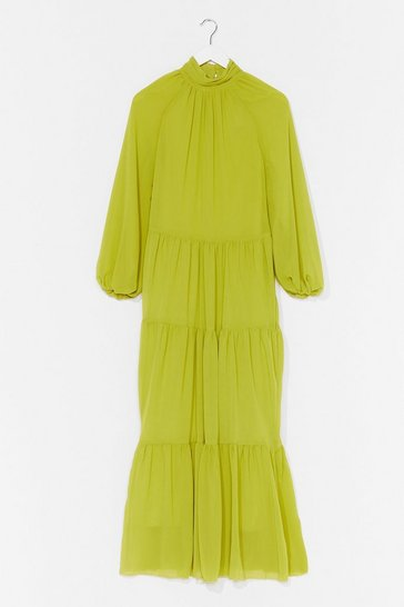 Lime No More Tiers High Neck Maxi Dress