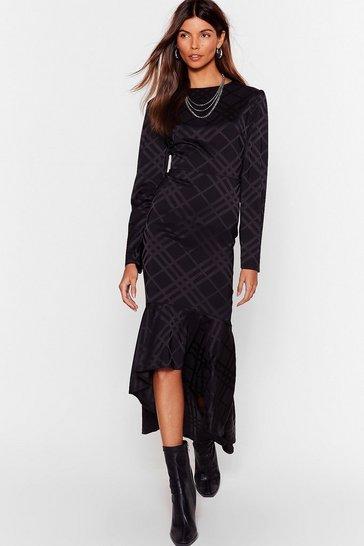 Black Not Today Satin Midi Dress