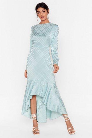 Mint Not Today Satin Midi Dress