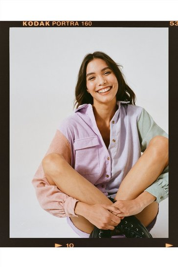 Lilac Colour Block Corduroy Shirt Dress