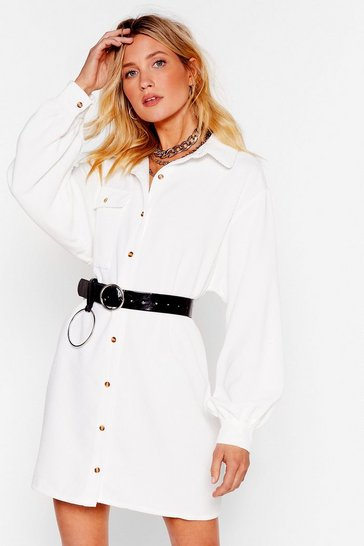 Ivory Ac-cord-ing to Our Sources Shirt Mini Dress