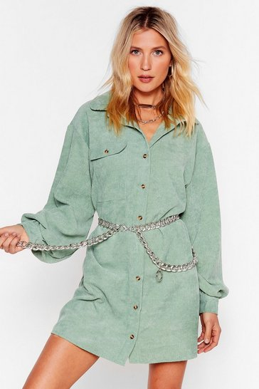 Ac-cord-ing to Our Sources Shirt Mini Dress, Sage
