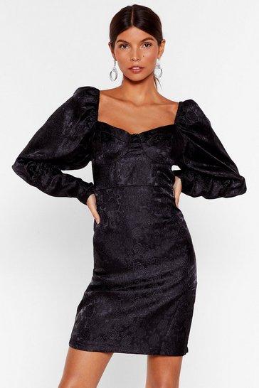 Black The Way Love Grows Jacquard Mini Dress