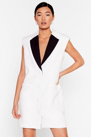 Leave the Contrast Behind Mini Blazer Dress, Ivory