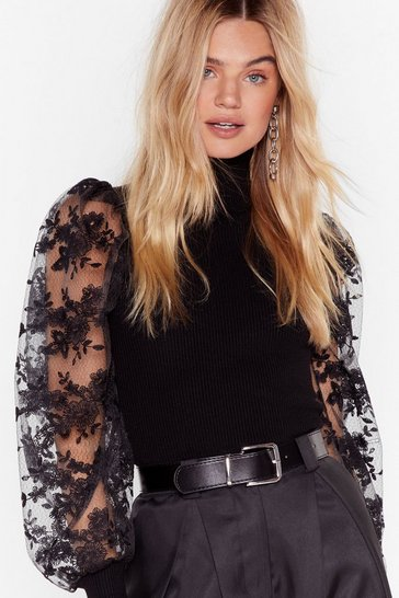 You Pick the Lace Puff Sleeve Turtleneck Sweater, Black
