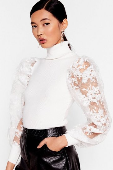 You Pick the Lace Puff Sleeve Turtleneck Sweater, White