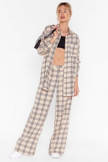 Beige Oversized Check Wide Leg Pants