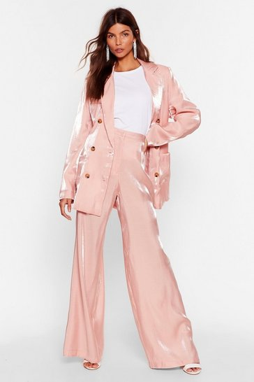 Rose Outshine 'Em Satin Wide-Leg Pants