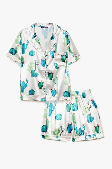 Nude Cacti Am Sleeping Satin Shirt and Short Pajama Set