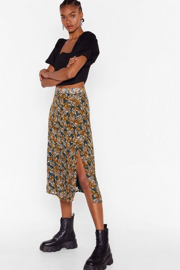 Jacquard Rose Split Leg Midi Skirt, Green
