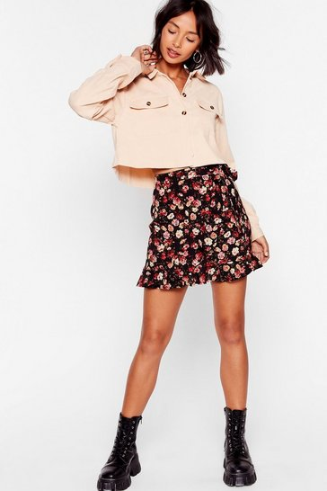 Black Not a Day Rose By Floral Mini Skirt