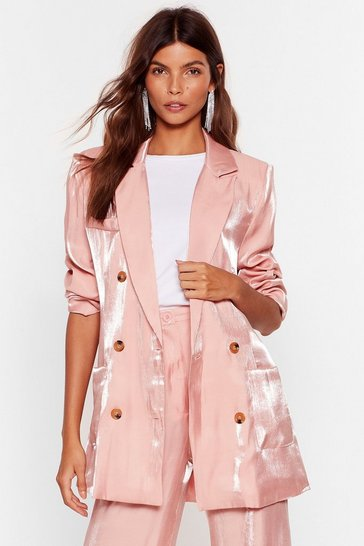 Blazer en satin effet brillant On va parler business, Rose