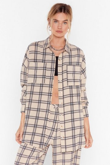 Beige Check Oversized Longline Shirt