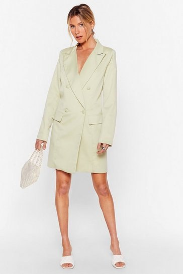 Sage You're in My Business Oversized Blazer Dress