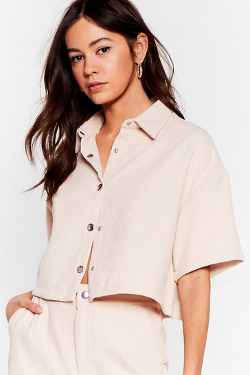 Cream Play the Record-uory Cropped Shirt