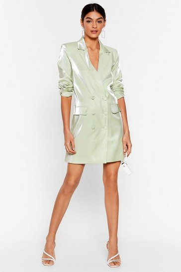 Mint Cool Down Shimmer Blazer Dress