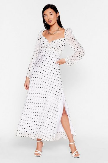 White Nothing Can Spot Us Metallic Puff Sleeve Dress