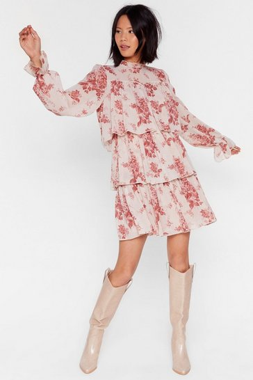 Nude Floral Tiered Smock Mini Dress