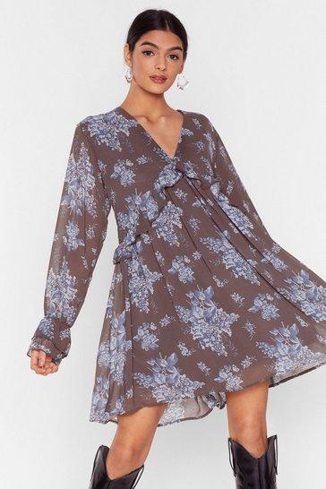 Grey Grow Hard Feelings Floral Mini Dress