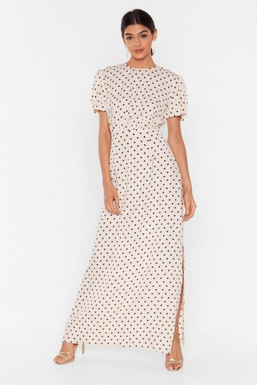 Cream Dot That Kinda Girl Puff Sleeve Maxi Dress