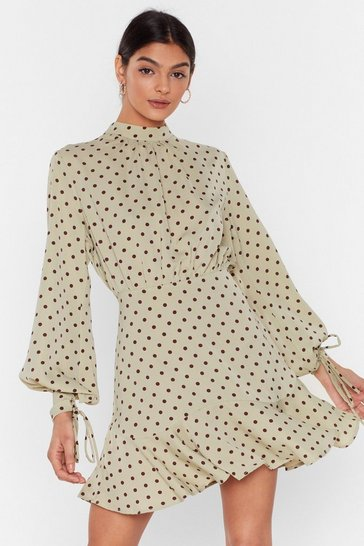Sage It's Dot Over High Neck Mini Dress