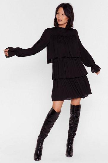 Black Tier Me Roar Ruffle Mini Dress
