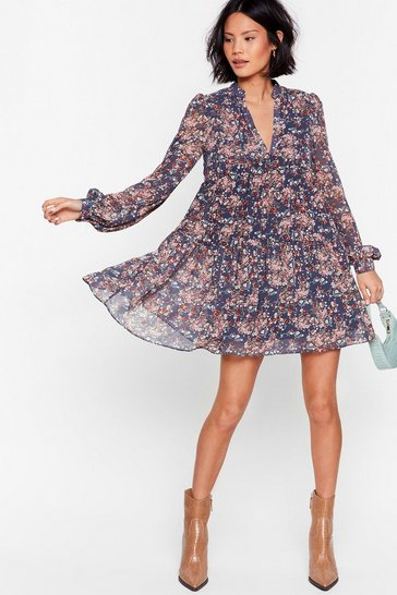 Blue Grow the Score Floral Mini Dress