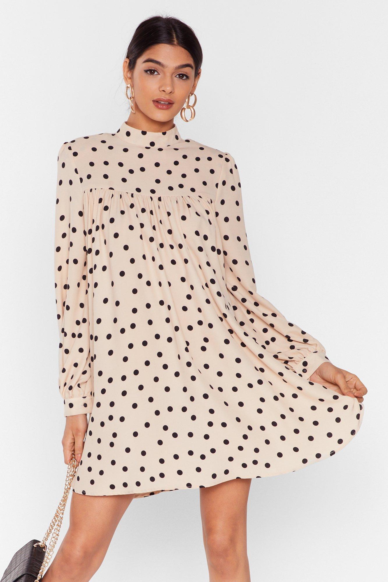 Got a Smock to Say Polka Dot Mini Dress