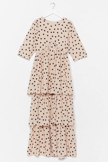Cream I'm Out of Tier Polka Dot Maxi Dress