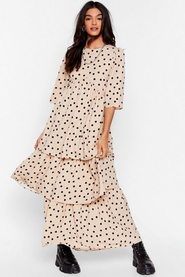 White I'm Out of Tier Polka Dot Maxi Dress