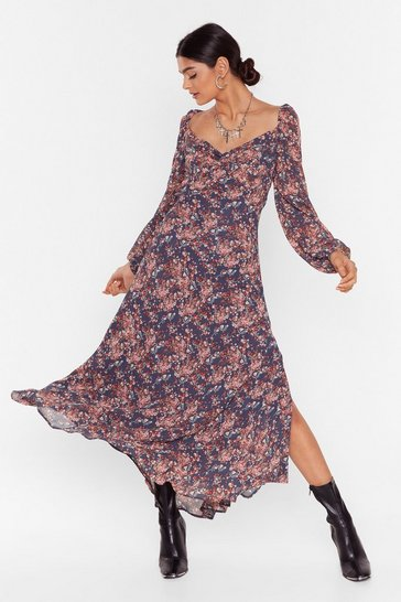 Blue Plant Be Late Floral Midi Dress