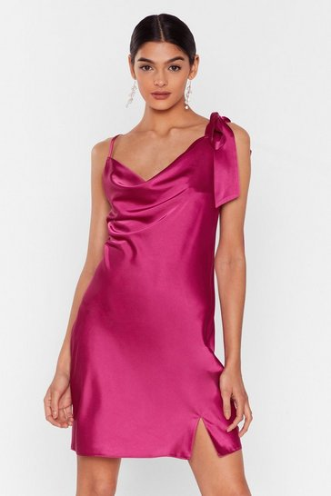 Bright pink Bow Me a Kiss Satin Mini Dress
