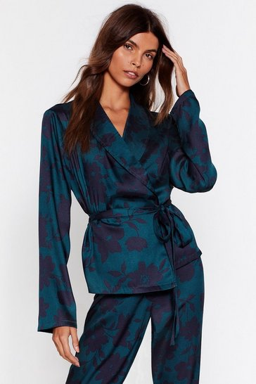 Teal Bold Floral Wrap Blouse