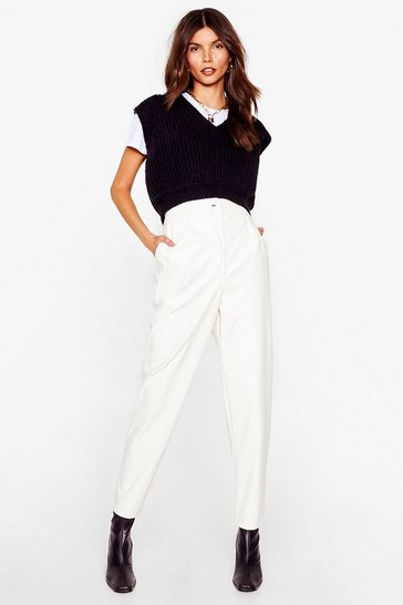 White Check the Forecast Faux Leather Tapered Pants