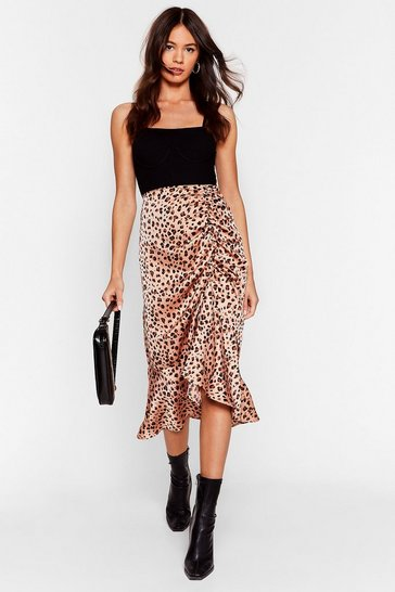 Brown Meow Does She Do It Leopard Midi Skirt