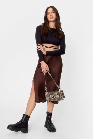 Chocolate Satin Split Leg Midi Skirt
